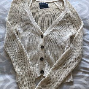 Creamy White American Eagle Knitted Cardigan